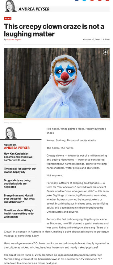 This creepy clown craze is not a laughing matter