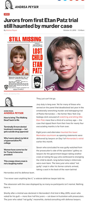 Andrea Peyser: Jurors from first Etan Patz trial still