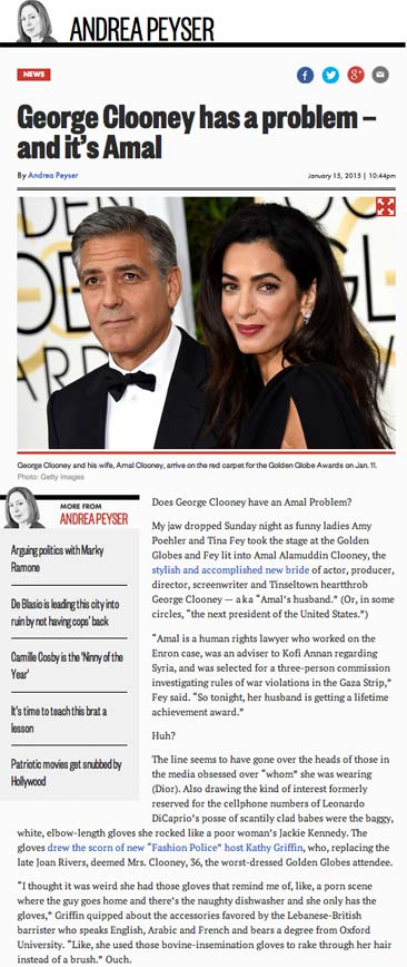 Andrea Peyser: George Clooney has a problem - and it's Amal