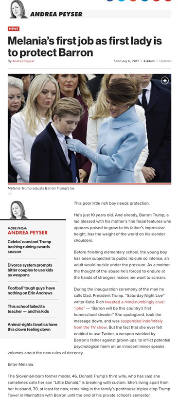 Melania's first job as first lady is to protect Barron